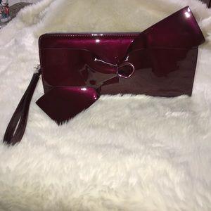 New Long zip clutch- Burgundy (red)